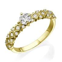 """טבעת יהלום 0.63 קראט """"וינטאג' משולשים"""" זהב צהוב"""