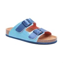 Desigual Shoes Bio2 Metal Ocean - כפכף לנשים עם שתי רצועות בטקסטורה מנוחשת בצבע כחולתכלת