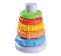 """מגדל טבעות צבעוניות המלמד רצף וגודל ע""""י התאמת הטבעות לחרוט מהגדולה לקטנה"""
