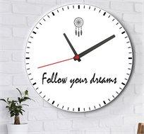 שעון עץ מודרני לבית לוכד חלומות עם כיתוב לך בעקבות החלומות שלך