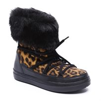 Crocs LodgePoint Lace Boot - מגף קרוקס נשים מנומרשחור עם פרווה