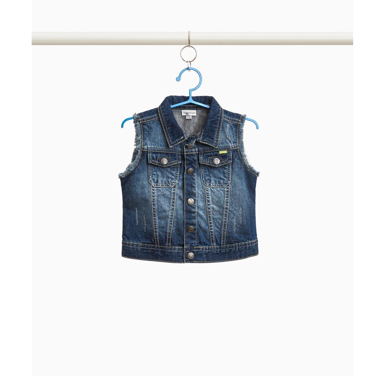וסט ג'ינס באפקט משופשף OVS לילדות - כחול
