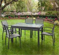 פינת ישיבה נפתחת מאלומיניום כולל 6 כסאות דגם SAVANA