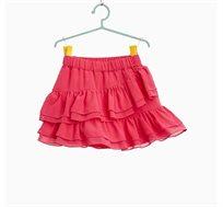 חצאית א-סימטרית עם עיטורי מלמלה לילדות בצבע פוקסיה