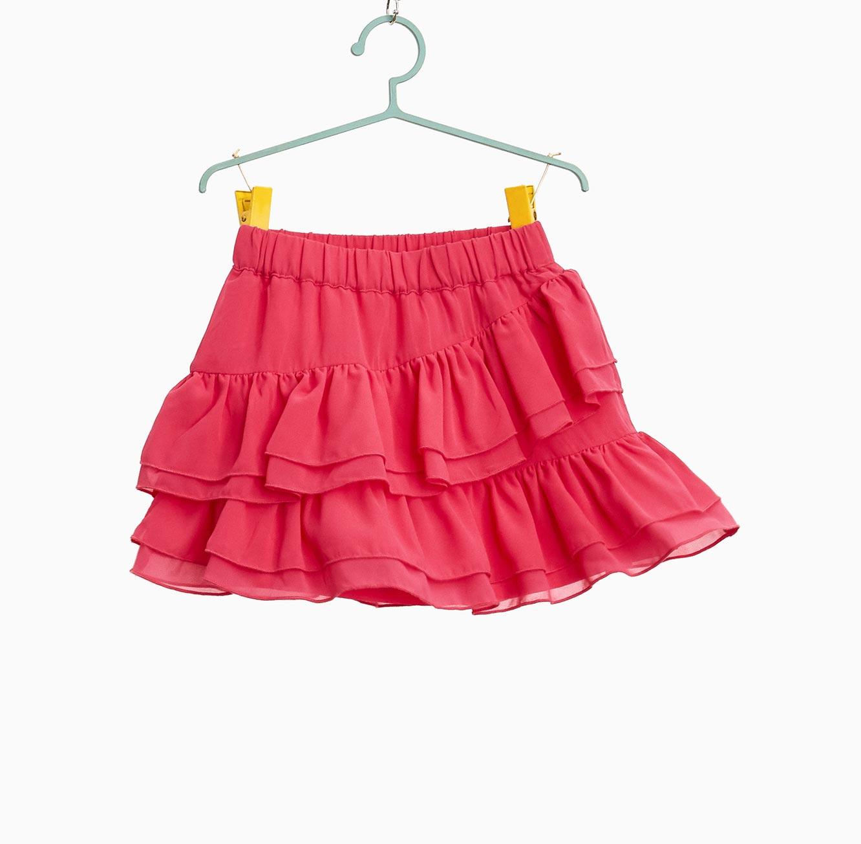 חצאית OVS א-סימטרית לילדות - פוקסיה