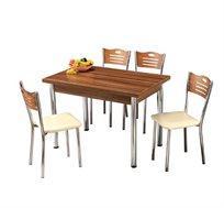 סט פינת אוכל נפתחת הכולל שולחן ו-4 כיסאות מרופדים לבית ולגן