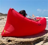 פטנט ישיבה או שכיבה Band-It מבית HomeTown המתנפח תוך פחות מ-10 שניות להנאה בים, בבריכה, קמפינג ולבית