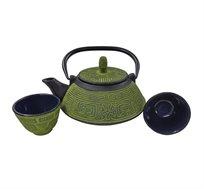 סט קומקום תה יפני וזוג כוסות Terracota יציקת ברזל בשילוב אמייל GURO במגוון צבעים