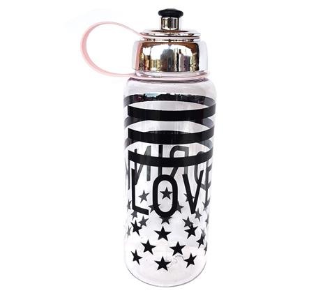 2 בקבוקי שתיה דגם LOVE עם פסים וכוכבים 1 ליטר