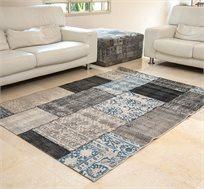 """שטיח סלוני דגם """"וינטג פאטצ'"""" בצבע כחול ומידות לבחירה"""