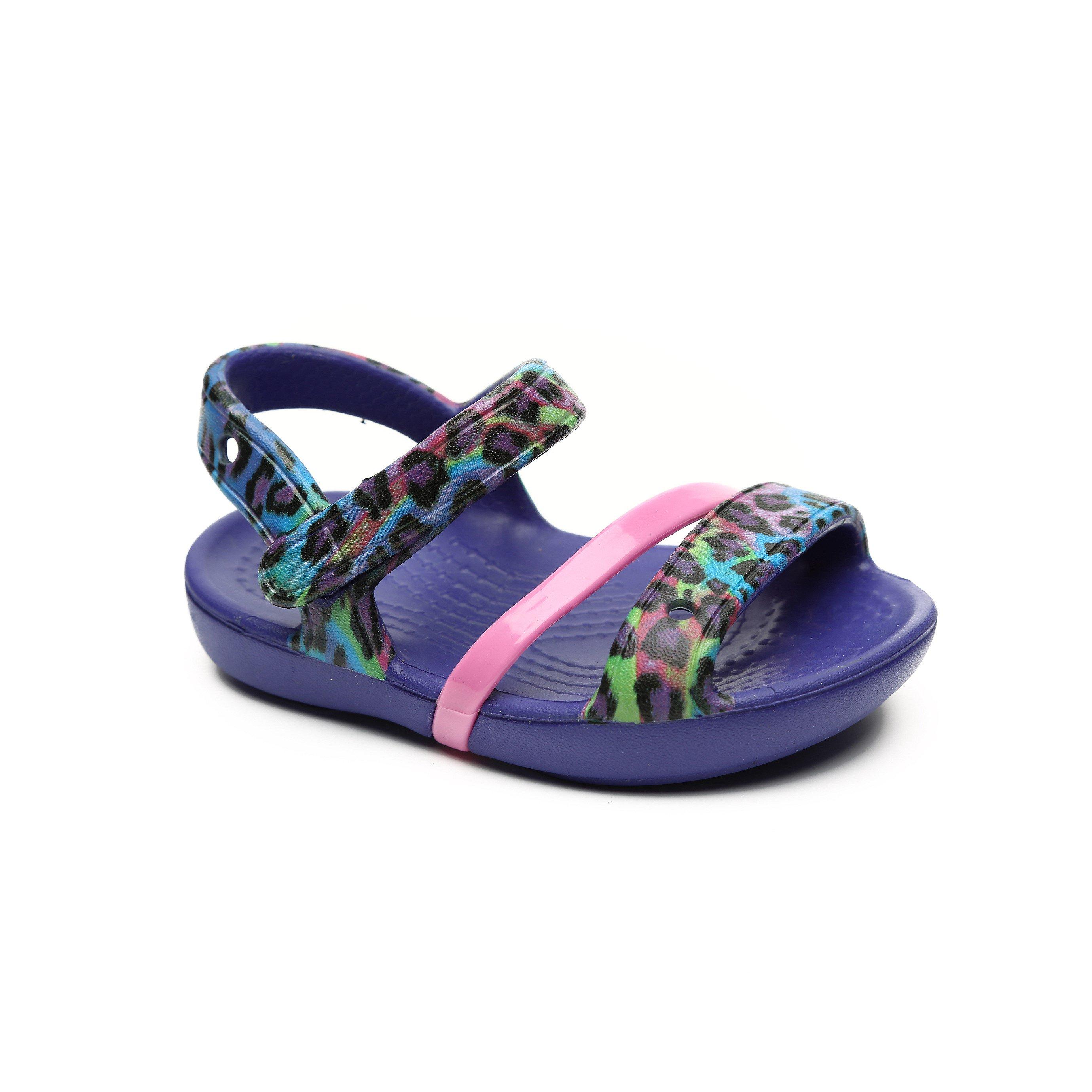 Crocs Lina Sandal - סנדל לילדות בעיטור מנומר בצבע סגול