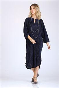 שמלה סאטן מקומט - כחול