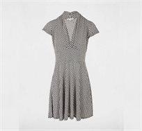 שמלה עם שרוולים קצרים MORGAN - שחור ולבן