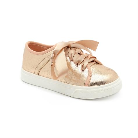 Keds - נעלי סניקרס בצבע זהב מטאלי עם שרוכי סאטן עבים