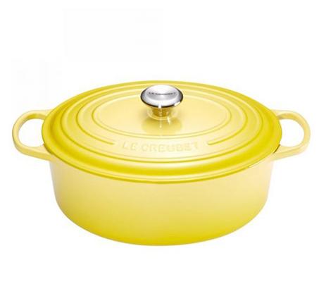 """סיר צהוב 29 ס""""מ אובלי ברזל יצוק לכל סוגי הכיריים ולתנור"""