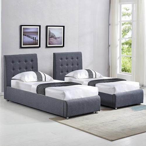 מיטה זוגית בריפוד בד עם הפרדה יהודית וארגזי מצעים HOME DECOR דגם אופירה - תמונה 3