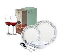 """סט אוכל 96 חלקים הכולל סט צלחות 36 חלקים + סכו""""ם 48 חלקים ו-12 כוסות יין"""