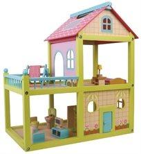 בית בובות צבעוני מעץ כולל ריהוט