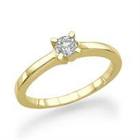 """טבעת אירוסין זהב צהוב """"ליה"""" 0.23 קראט יהלומים"""