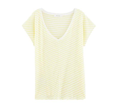 חולצת סריג וי עם פסים PROMOD - לבן/צהוב