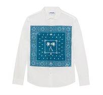 חולצה מכופתרת ארוכה בהדפס בנדנה לגברים Desigual דגם Banda בצבע לבן/כחול