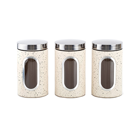 סט 3 קופסאות אחסון זכוכית ומתכת נעמן