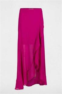חצאית מעטפת ארוכה לנשים MORGAN עם סיומת מלמלה - פטל