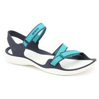 Crocs Swiftwater Webbing Sandal - סנדל שטוח בצבע טורקיז עם רצועות מתכווננות
