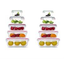 סט 10 כלי אחסון מזכוכית GlassCloc במבחר גדלים מתאים לשימוש במיקרוגל Food Appeal