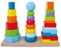 שלושה מגדלי בניה והשחלה גיאומטרים צבעוניים