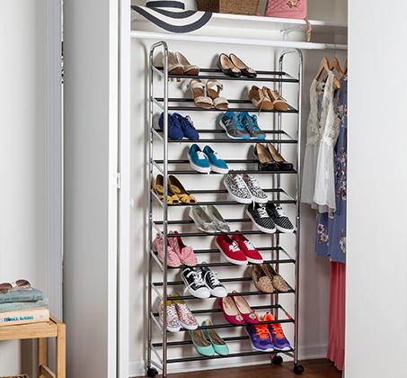מתקן נעליים נייד מניקל איכותי לאחסון עד 50 זוגות נעליים מבית honey can do ארה