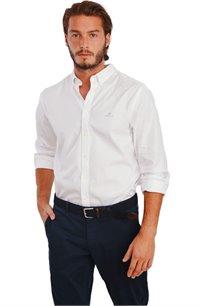 חולצת אריג גזרת Slim Fit לגברים - לבן