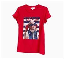 חולצת טי קצרה לילדות בצבע אדום עם הדפס