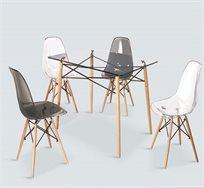 שולחן פינת אוכל מודרני מזכוכית משולב עץ ומתכת