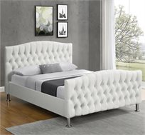 מיטה זוגית מעוצבת בריפוד דמוי עור לבן עם תפרים מעוצבים דגם מרי HOME DECOR