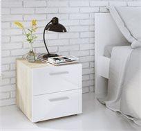 זוג שידות לילה 2 מגירות עם חזית לבנה מבריקה דגם פופ HOME DECOR