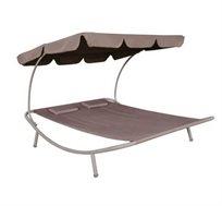 מיטת שיזוף נדנדה זוגית עם מסגרת פלדה בשילוב בד ו-2 כריות דגם אורן