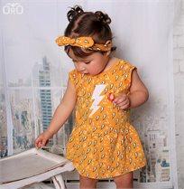 ORO שמלת בגד גוף טריקו (0-24 חודשים) - צהוב