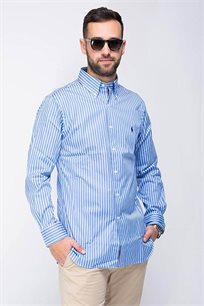 חולצה מכופתרת לגבר POLO RALPH LAUREN בצבע כחול עם פסים לבנים