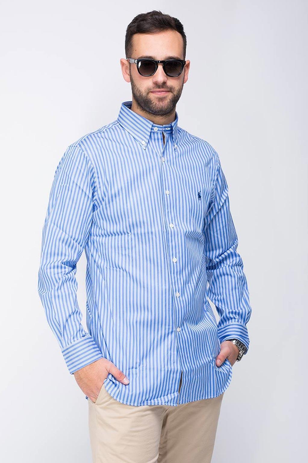 חולצה מכופתרת לגבר POLO RALPH LAUREN - כחול עם פסים לבנים