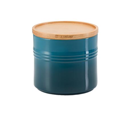 צנצנת עם מכסה עץ לאחסון בנפח 2.3 ליטר מקרמיקה LE CREUSET - משלוח חינם - תמונה 2