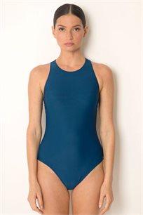 בגד ים שלם בגזרה ספורטיבית עם מחשוף קל ורוכסן בגב בצבע כחול