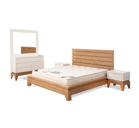 חדר שינה כולל מיטה זוגית, שתי שידות, קומודה ומראה עשוי עץ מלא משולב לבן מט דגם סוואנה LEONARDO - תמונה 2