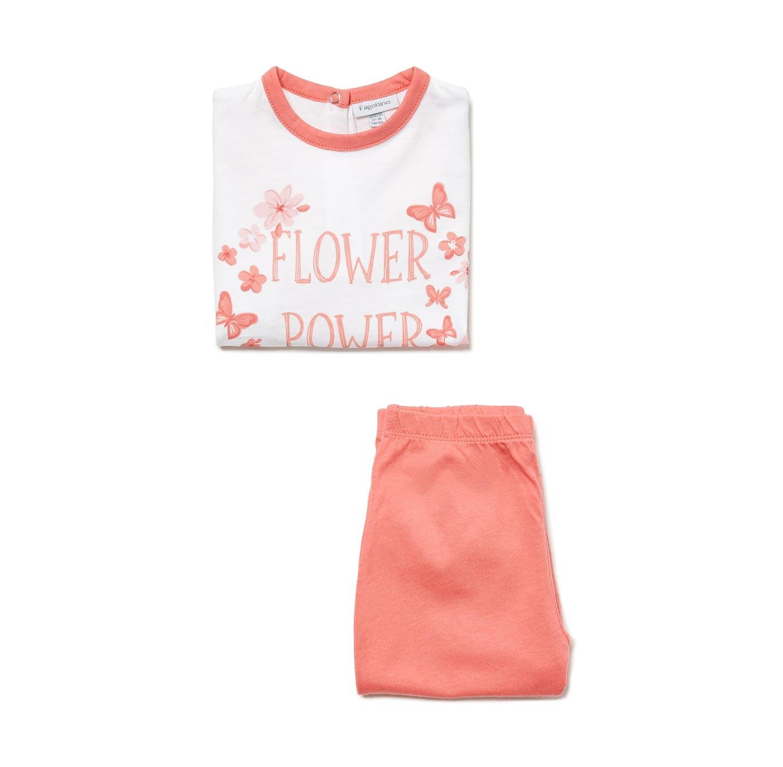 פיג'מה OVS ארוכה לתינוקות וילדות - לבן וורוד עם הדפס פרחים