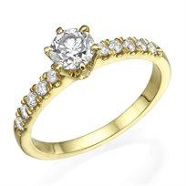 """טבעת יהלומים """"יולי משובצת"""" 0.75 קראט זהב צהוב"""