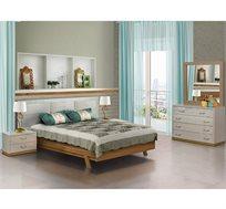 סט ריהוט לחדר השינה עם מיטה שידות ומראה דגם יובל