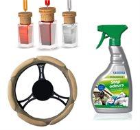 ערכת ניקוי וטיפוח לרכב הכוללת תרסיס ניקוי אקולוגי, כיסוי הגה ו-3 מפיצי ריח