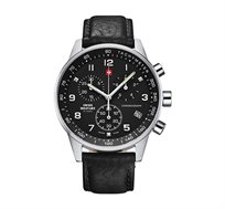 שעון יד כרונוגרף שוויצרי לגבר SWISS MILITARY עשוי פלדת אל חלד עמיד במים עד 50M