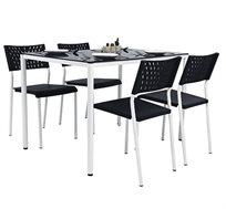 סט פינת אוכל הכולל שולחן ו-4 כיסאות בעיצוב מודרני לבית ולגינה
