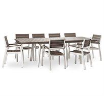 שולחן הרמוני 160 מסגרת לבנה כולל 8 כסאות עם מסעדי ידיים